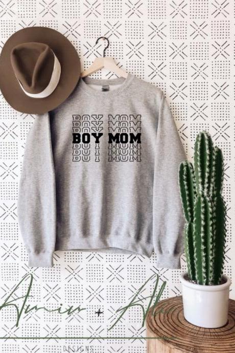 Boy Mama Shirt, Crewneck Sweatshirt, Mom Pullover, Women's Clothing, Cute mom shirt, Gift for mom